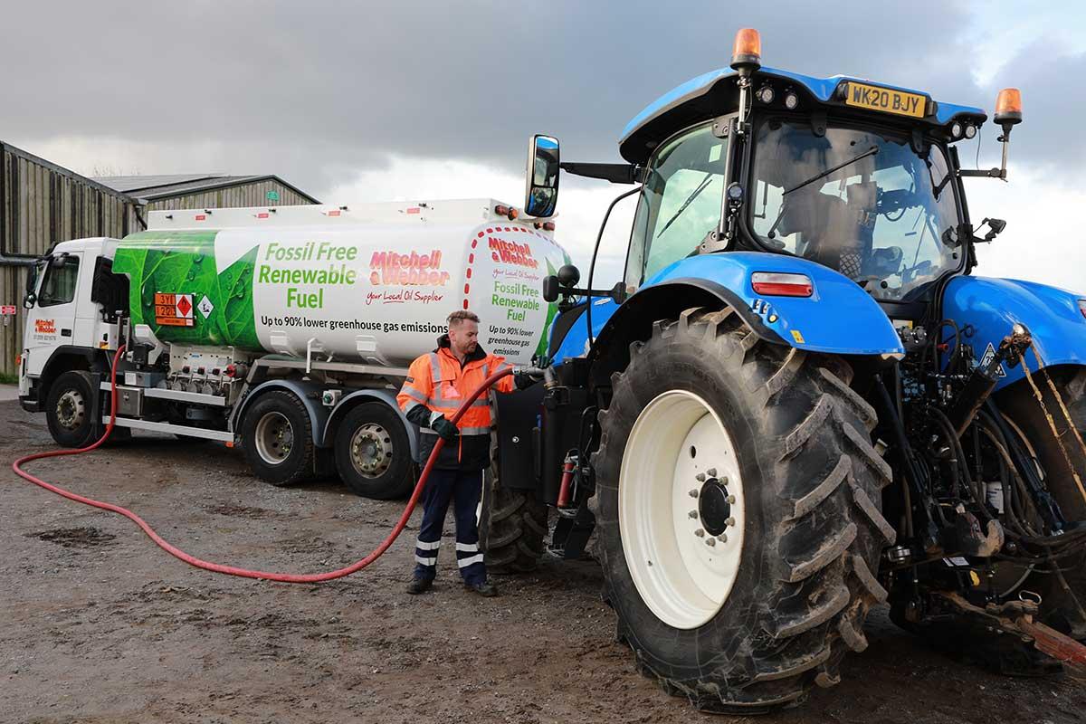 HVO renewable diesel fuel tractor